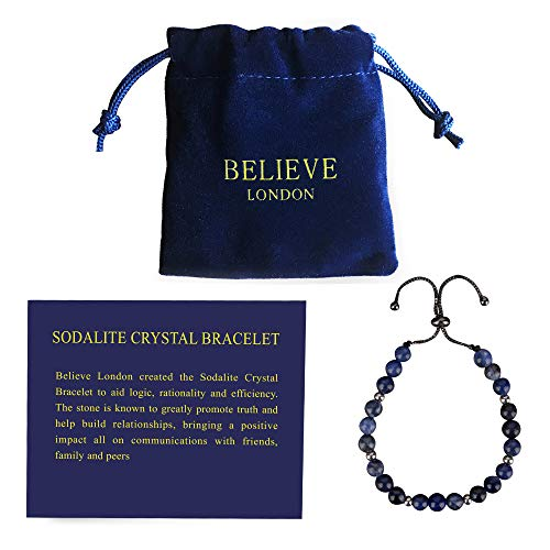 Believe London Sodalite Bracelet with Jewellery Bag & Meaning Card | Strong Elastic | Precious Natural Stones Crystal Healing Gemstone