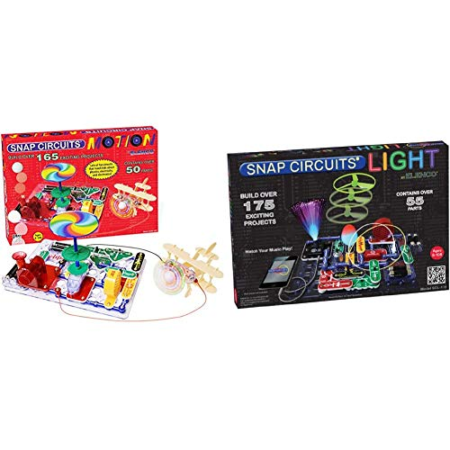 Snap Circuits Motion Electronics Exploration Kit & Light Electronics Exploration Kit   Over 175 Exciting STEM Projects   55 Parts   STEM Educational Toys for Kids 8+,Multi