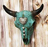 Ebros 10' Wide Western Southwest Steer Bison Buffalo Bull Cow Horned Skull Head Turquoise Silver Heart With Scroll Lace Design Wall Mount Decor Native Indian Sacred Animal Totem Bust Skulls