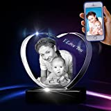 3D Crystal Photo - 3D Crystal Picture Engraved Heart, Personalized & Custom Heart Crystal with Free LED Base, Memorable Gift, and Keepsake, Medium