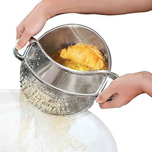 Clip-on Kitchen Food Strainer,Strainer,Steel Colander,Pasta Strainer - Dishwasher Safe Colander Perfect For Draining Pasta, Vegetables, Potatoes, etc. - Universal Fit for all pots and bowls