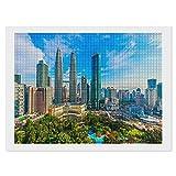 5D-Diamant-Malerei-Set Kuala Lumpur, Malaysia-Weiß-C-14, 30,5 x 40,6 cm, quadratischer Vollbohrer, 5D-Diamant-Punkte, Bastelset für Heimdekoration & Erwachsene Kinder