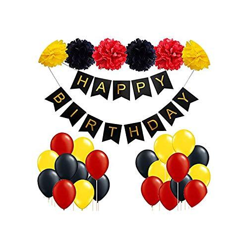 Zum Geburtstag Hochzeit |28pcs Alles Gute zum Geburtstag Brief Banner Schwarz Rot Latex Luftballons Babyparty Geburtstagsfeier Dekorationen Junge Mädchen Kinder Party Gefälligkeiten-28pcs-