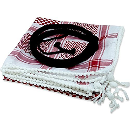 Bethlehem Gifts TM Authentic Keffiyeh RED Shemagh + Agal by LION OF JUDAH MARKET