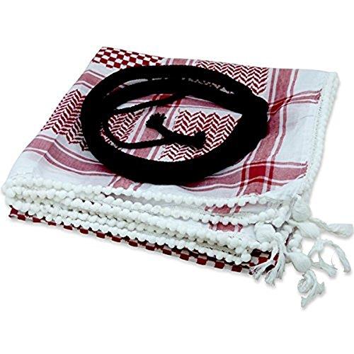 Bethlehem Gifts TM Middle Eastern Red & White Kafiya Keffiyeh Kufiya with Aqal Rope