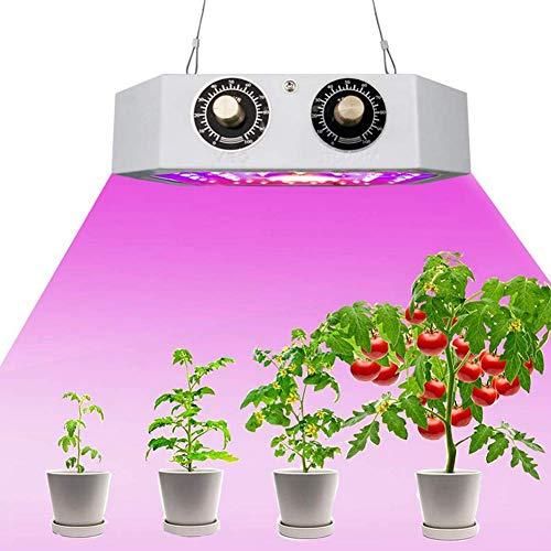 Growing Light, 1100W LED Plants Growing Lamp Double Knob Full Spectrum AC85-265V 9.8 x 5.9 x 2.0 inch (UK Plug)