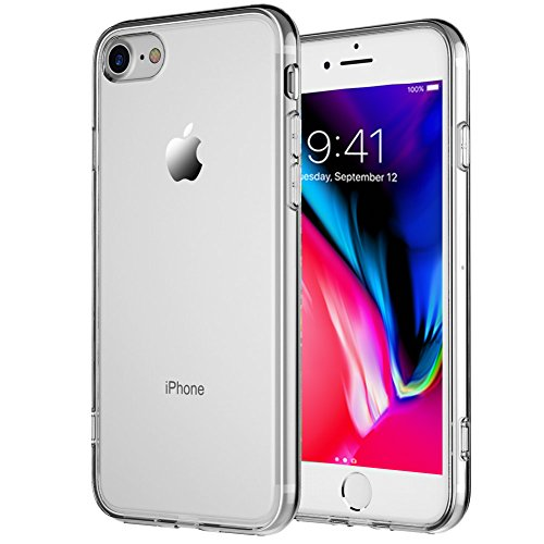 TekSonic iPhone 7, iPhone 8 Case, Crystal Clear Case [Shock Absorption] Cover Soft TPU Rubber Gel [Anti Scratch] Transparent Clear Back Case, Soft Silicone (Clear)