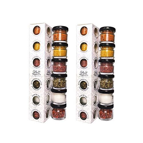 GLOSA MARINA - 2 x Gourmet Meersalz und Pfeffer 6er Set aus Mallorca als ideales Salz & Gewürze Geschenk Paket (2 x 118g)