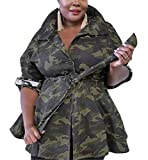 Womens Fashion Plus Size Military Camo Sequins Printed Lightweight Outwear Coat Camouflage Longline Jacket Safari Jackets Belted Party Club Swing Dress 3XL