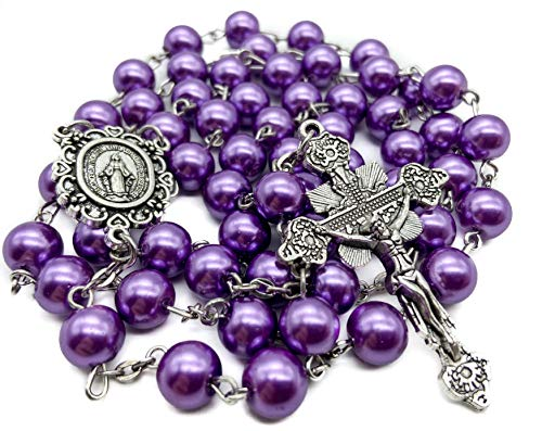 Nazareth Store Catholic Purple Pearl Glass Beads Rosary Necklace Miraculous Medal & Cross NS - Velvet Bag