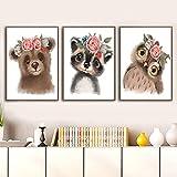 Póster de guardería e impresión en lienzo pintura mapache ardilla zorro conejo oso ciervo búho pared arte imágenes bebé niños habitación decoración