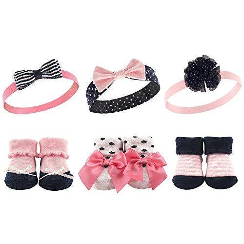 Hudson Baby Unisex Baby Headband and Socks Gift set, Pink Navy, One Size