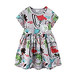 3. Mud Kingdom Little Girls Cute Dinosaur Print Summer Dress