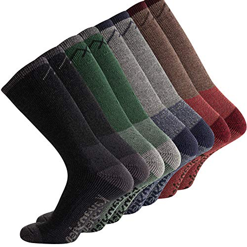 KAVANYISO Men's Merino Wool Hiking Socks Breathable Athletic Crew Thicken (US MEN 4 Pair, ASS(kat))