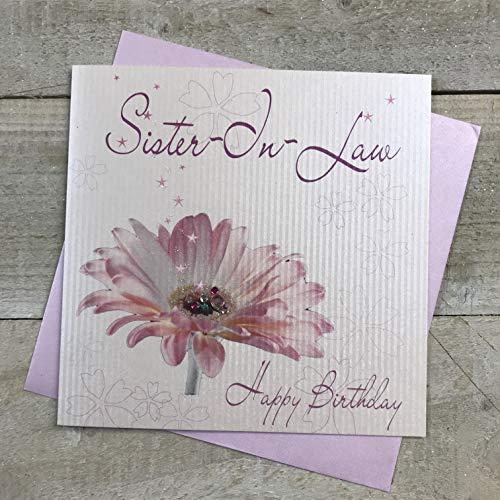 witte katoenen kaarten Zuster-in-Law Gelukkig, Handgemaakte Verjaardagskaart (Pink Gerbera Bloem)