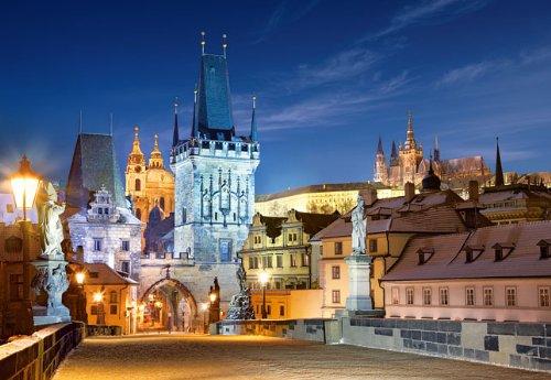 alles-meine.de GmbH Puzzle 1000 Teile - Prag Karlsbrücke bei Nacht - Tschechische Republik - Moldau Nachts Brücken UNESCO Weltkulturerbe - Tschechien