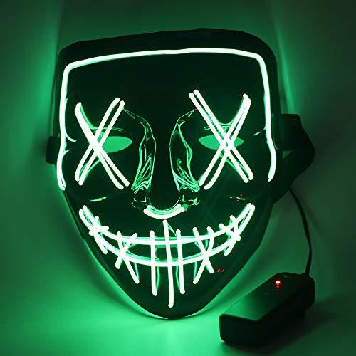 CENOVE LED Grusel Maske Halloween Maske mit 3 Blitzmodi, 3X Lichteffekten LED Purge Maske für Halloween Erwachsene, Männer und Frauen (Grün)
