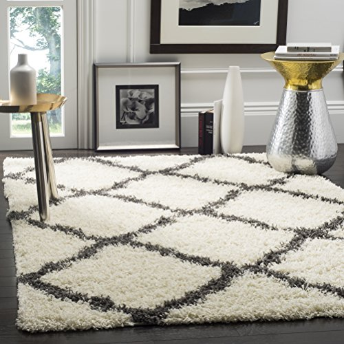 Safavieh Dallas Shag Collection SGD257H Ivory and Dark Grey Area Rug (6' x 9')