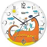 モダンミニマリストウォールクロック、リビングルーム、子供部屋、ベッドルーム、オフィス、ダイニングルーム、学校、ミュート、モダンミニマリスト、ガラス、電池式、アラビア数字、円形、漫画のファッション、アニマルプリント、曲線、サイズ:8インチ、9インチ (Style : Teddy bear) (Dinosaur)
