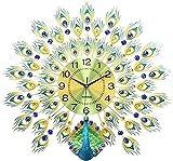 Linjolly Reloj de Pared Decoración de Pared de Pavo Real Moderno Reloj de Pared Sin garrapata Operación de batería Arte y Regalos Vintage Cuarzo Reloj de Pared (Color : Gold, Size : 60x60cm)