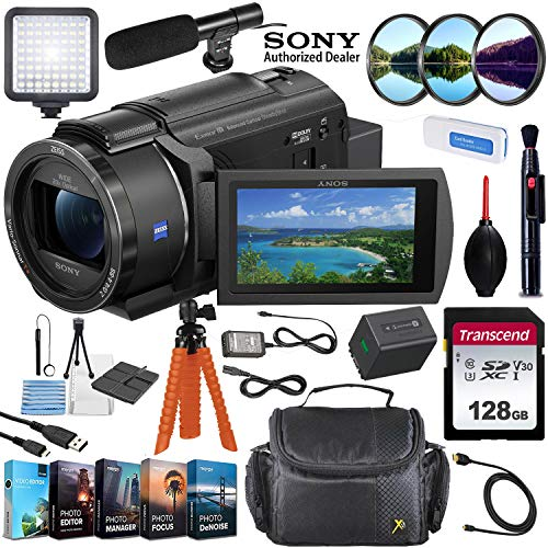Sony FDR-AX43 UHD 4K Handycam Camcorder Vlogging Bundle Including Video Light, 128GB Memory Card, Microphone, Camcorder Case, Editing Software Kit & More
