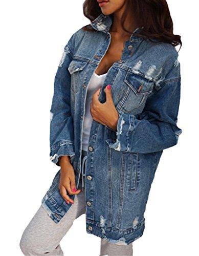 Scothen Frauen Basic Mäntel Herbst Winter Jeansjacke Vintage Langhülse Lose Mädchen Jeans Mantel Beiläufige Outwear Damen Jeansjacke Vintage Mädchen Jeans Outwear Etikett L/EU 38 Blue