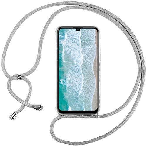 Ingen Funda con Cuerda para Huawei P Smart Plus 2019 / Honor 20 Lite - Carcasa Transparente TPU Suave Silicona Case con Colgante - Gris