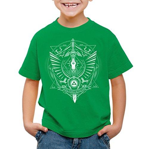 style3 Hyrule Wappen T-Shirt für Kinder link Gamer, Farbe:Grün, Größe:152