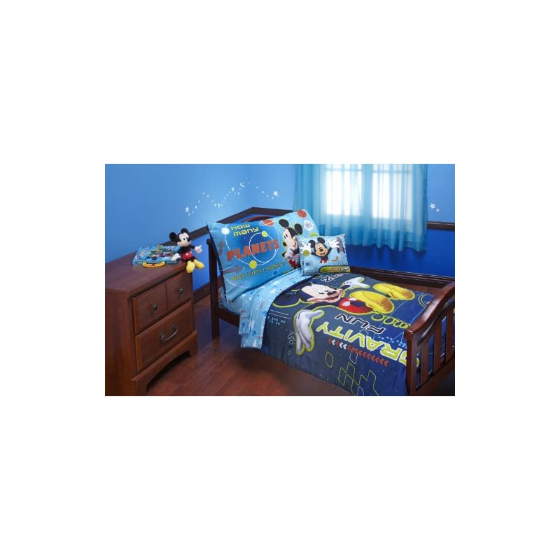 crib bedding and baby bedding disney 4 piece mickey mouse space adventure zero gravity toddler set, blue