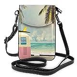 Pequeños bolsos Crossbody autobús playa escena del mar teléfono celular monedero mujeres pu bolso de hombro monederos monederos