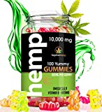 Hemp Gummies 10000 MG - 100mg per Yummy Gummy - Omega 3, 6, 9, Vitamin E, Vitamin B - Made in USA - Stress and Anxiety Relief - Better Rest and Sleep - Easy and Fun to take