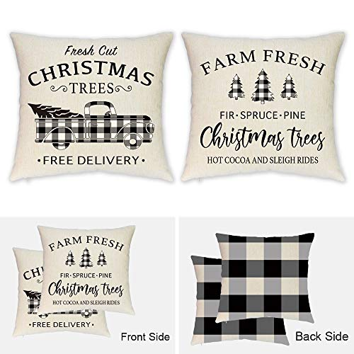 Christmas Pillow Covers 18x18 Inch Set of 2-Double Printed Farmhouse Buffalo Check Plaid Truck Christmas Pillow Covers for Christmas Décor- Christmas Tree Buffalo Plaid Decorative Throw Pillow Covers