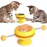 Juguete para gatos, juguete para gatos interactivo con ventosa, bola con giro de 360°, menta gata giratoria para gatos, color amarillo