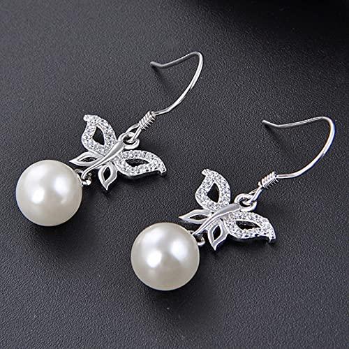 yuge Pendientes de plata de ley 925 con forma de gota para mujer con perlas y mariposa, piedras preciosas para mujer, belleza y moda, exquisita, regalo de joyería de