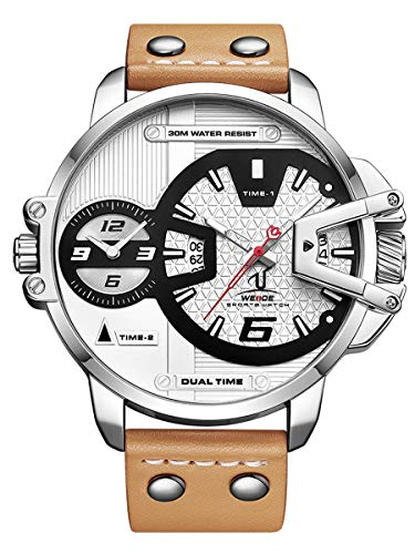 Alienwork Armbanduhr Herren Silber Lederarmband braun Kalender Datum Weiss XL Große