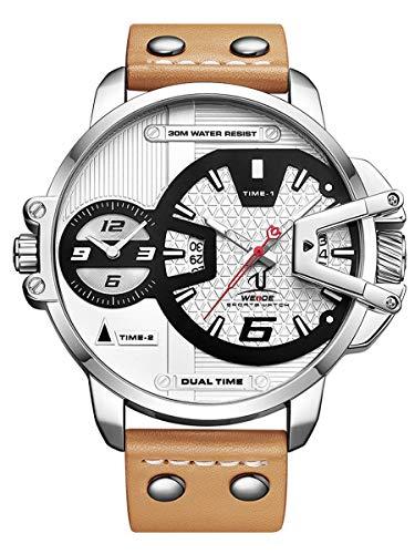 Alienwork Montre Homme Bracelet Cuir Brun Analogique Quartz Unisex Calendrier Date Argent Blanc Imperméable XL Grand