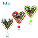 WHDTS 3-Set Heart Shape LED Flashing Light DIY Kit with PCB DC 4-6V Red Green...