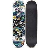Dapang Cruiser Skateboard - Skateboard Complet Pro de 31'x 8' - Planche de Planche à roulettes Adulte en Bois d'érable Canadien avec Double Kick 7 Couches,2