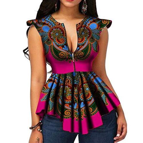 VERWIN African Color Block Zipper Sleeveless Women's Blouse Fashion Asymmetric Print Women's Top Shirt M Rose