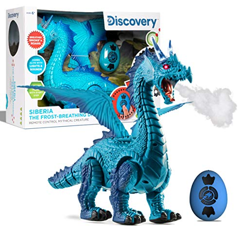 Discovery Kids RC Dragon Smoke Breathing Pet Toy, Infrared Remote-Controlled Walking and Flapping Wings, Light Up Dragon Roars and Growls