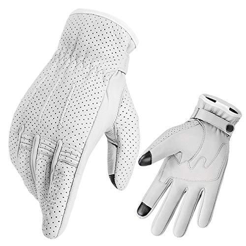 INBIKE Motorradhandschuhe Herren Damen Atmungsaktiv Lederhandschuhe Motorrad Handschuhe aus Soft Ziegenleder für Sommer Winter Weiß XXL