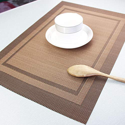 Tischsets Abwaschbar Platzset 6er Set rutschfest PVC Abgrifffeste Hitzebeständig Platzdeckchen Schmutzabweisend Platz-Matten für Küche Speisetisch(45x30cm Braun)