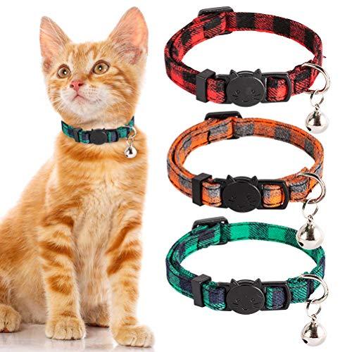 PUPTECK 猫 首輪 猫の首輪 猫用首輪 セーフティバックル付 鈴付 サイズ調節可 かわいい おしゃれなモダン 3点入り(レッド、オレンジ色、グリーン)