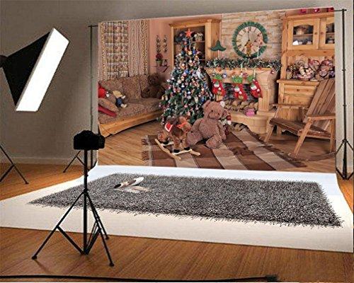 YongFoto 2,2x1,5m Fondo de Fotografia Navidad Ãrbol Chimenea Media Caballo Batalla Silla Cortina Piso Madera Interior Telón de Fondo Fiesta Niños Boby Retrato Personal Estudio Fotográfico Acce