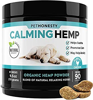 PetHonesty Hemp Calming Treats for Dogs - All-Natural Soothing Snacks with Hemp + Valerian Root Stress & Dog Anxiety Relief- Aids with Thunder Fireworks Chewing & Barking  Chicken 90ct