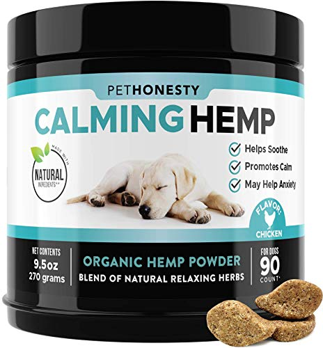 PetHonesty Hemp Calming Treats for Dogs – All-Natural Soothing Snacks with Hemp + Valerian Root, Stress & Dog Anxiety Relief- Aids with Thunder, Fireworks, Chewing & Barking (Chicken, 90ct)