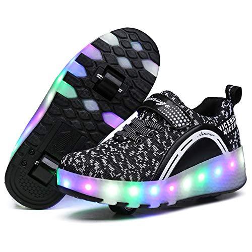 LHZHG Zapatos con Ruedas Niños y niñas Zapatillas Luminosas LED Cuatro Estaciones Patines universales cómodos Zapatos Casuales de Cuero Patines (Color : Double 1, Size : 34 EU)