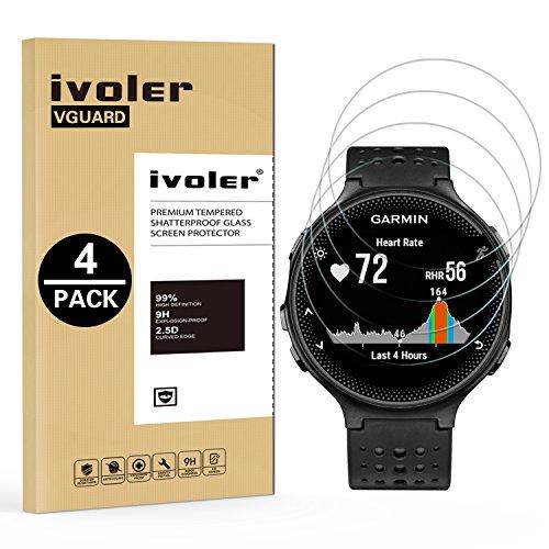ivoler [4 Unidades] Protector de Pantalla para Garmin Forerunner 235 225 630 620 220 230, Cristal Vidrio Templado Premium
