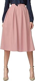 Urban GoCo Women's A-Line Pleated Flared Midi Skirt