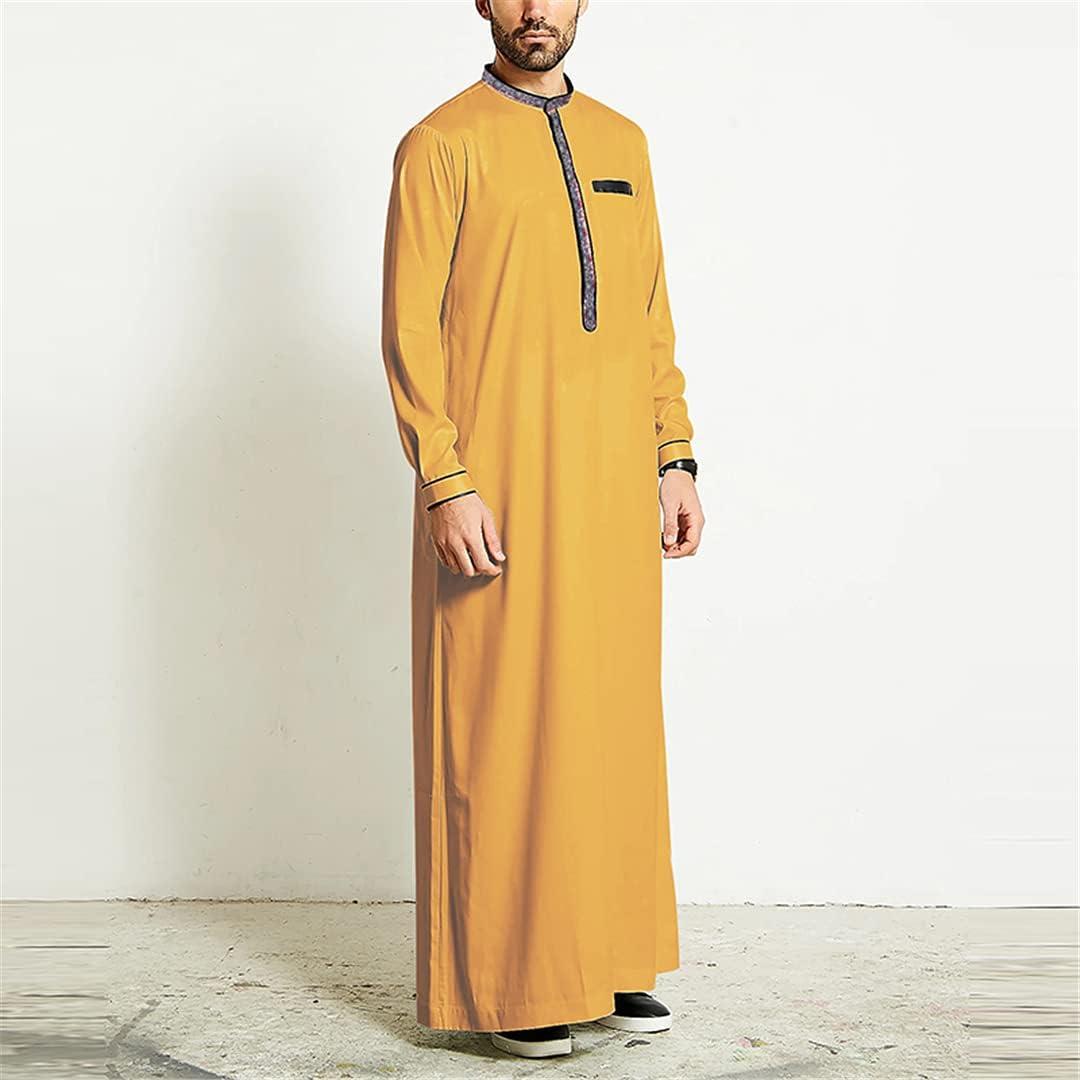 Vintage Men Muslim Islamic Arabic Kaftan Long Sleeve Patchwork Robes